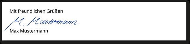 Unterschrift der Bewerbung