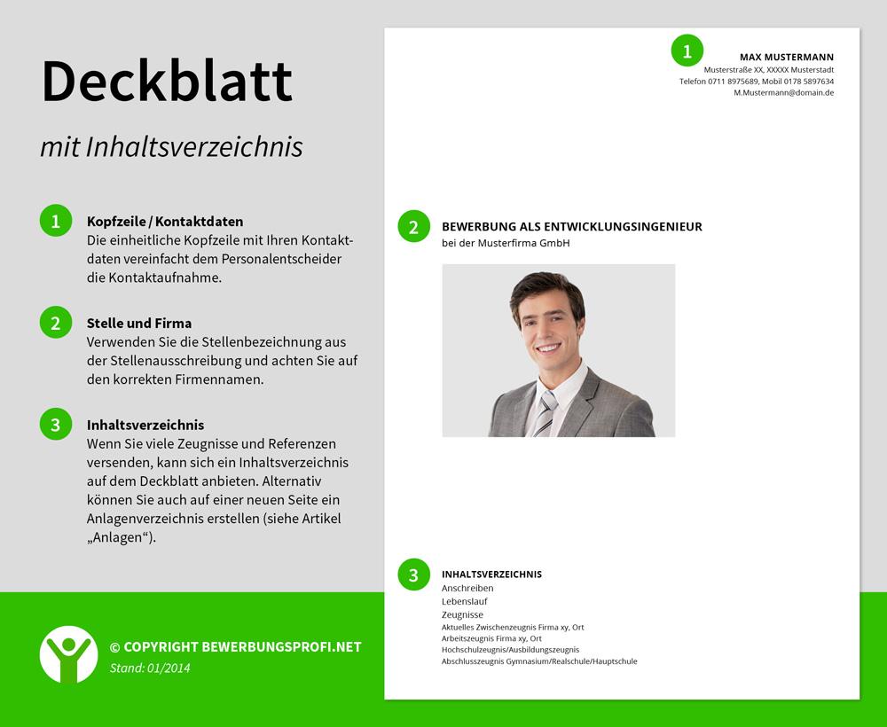 deckblatt bewerbung inhaltsverzeichnis - Muster Deckblatt Bewerbung