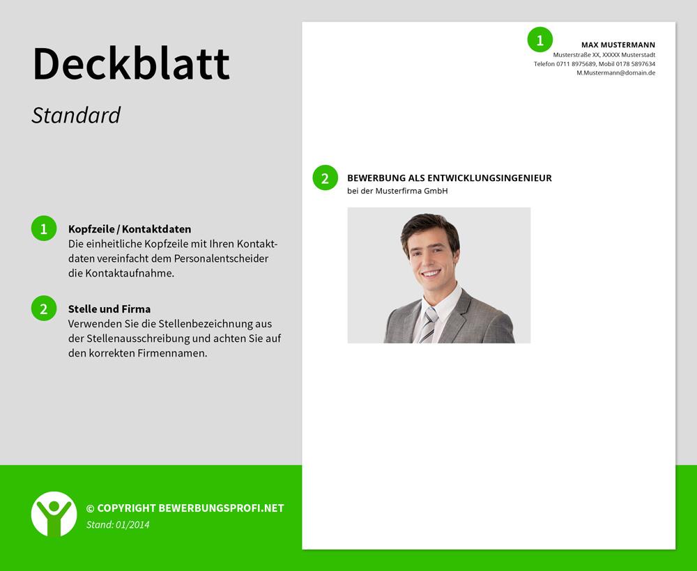 deckblatt bewerbung standard - Bewerbung Muster Deckblatt
