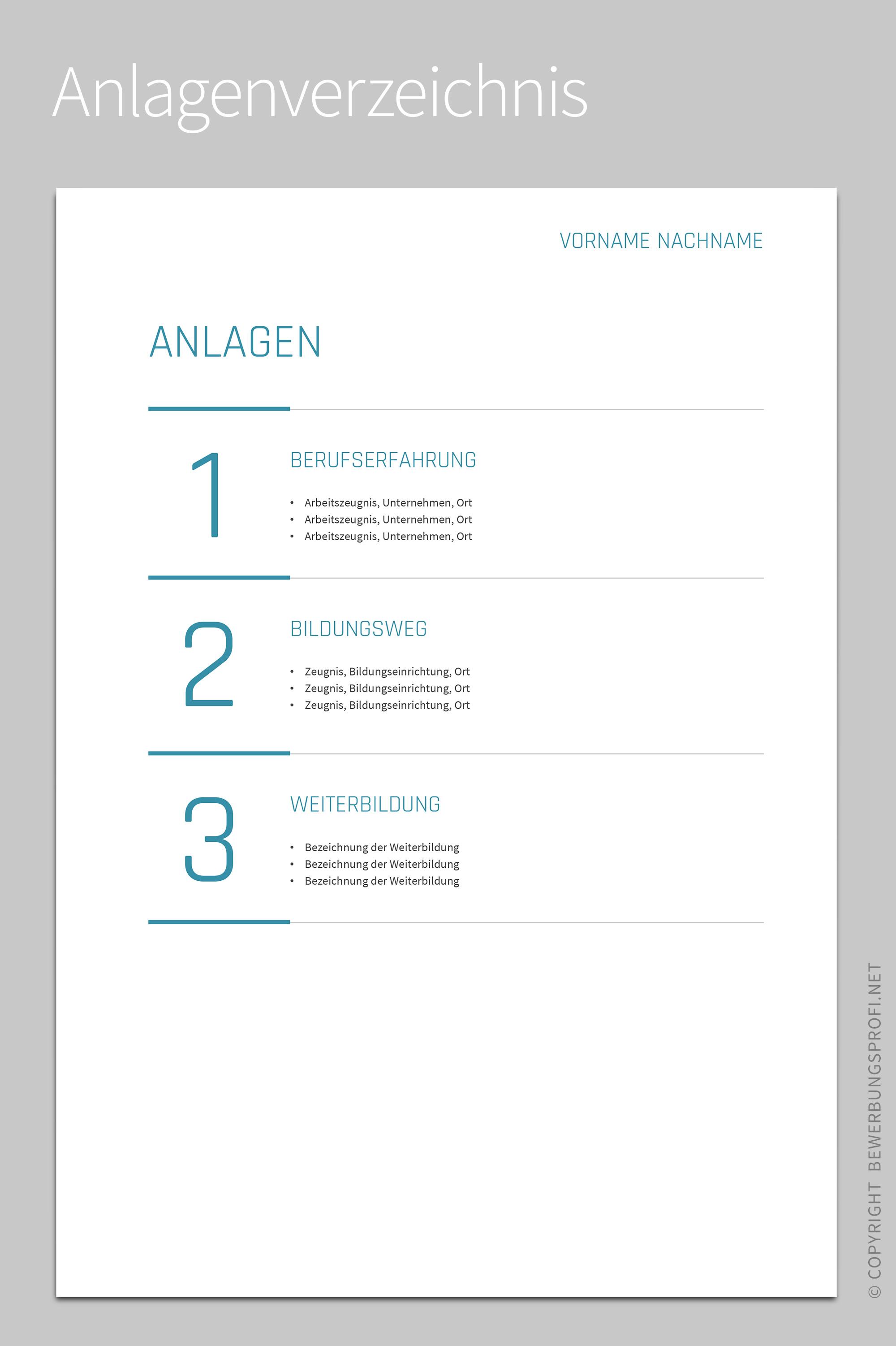 Anlagenverzeichnis Amelio