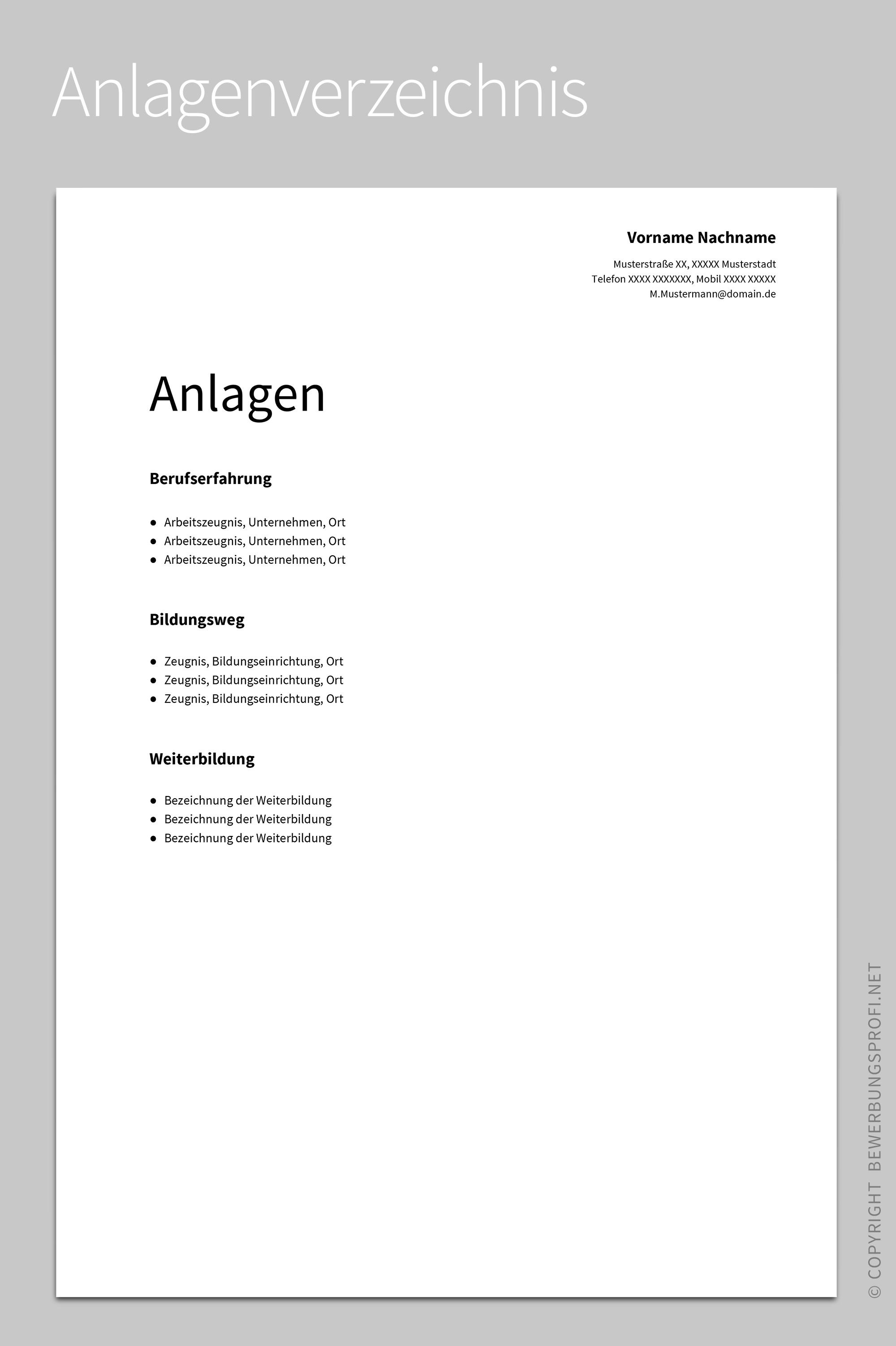 Anlagenverzeichnis Albus