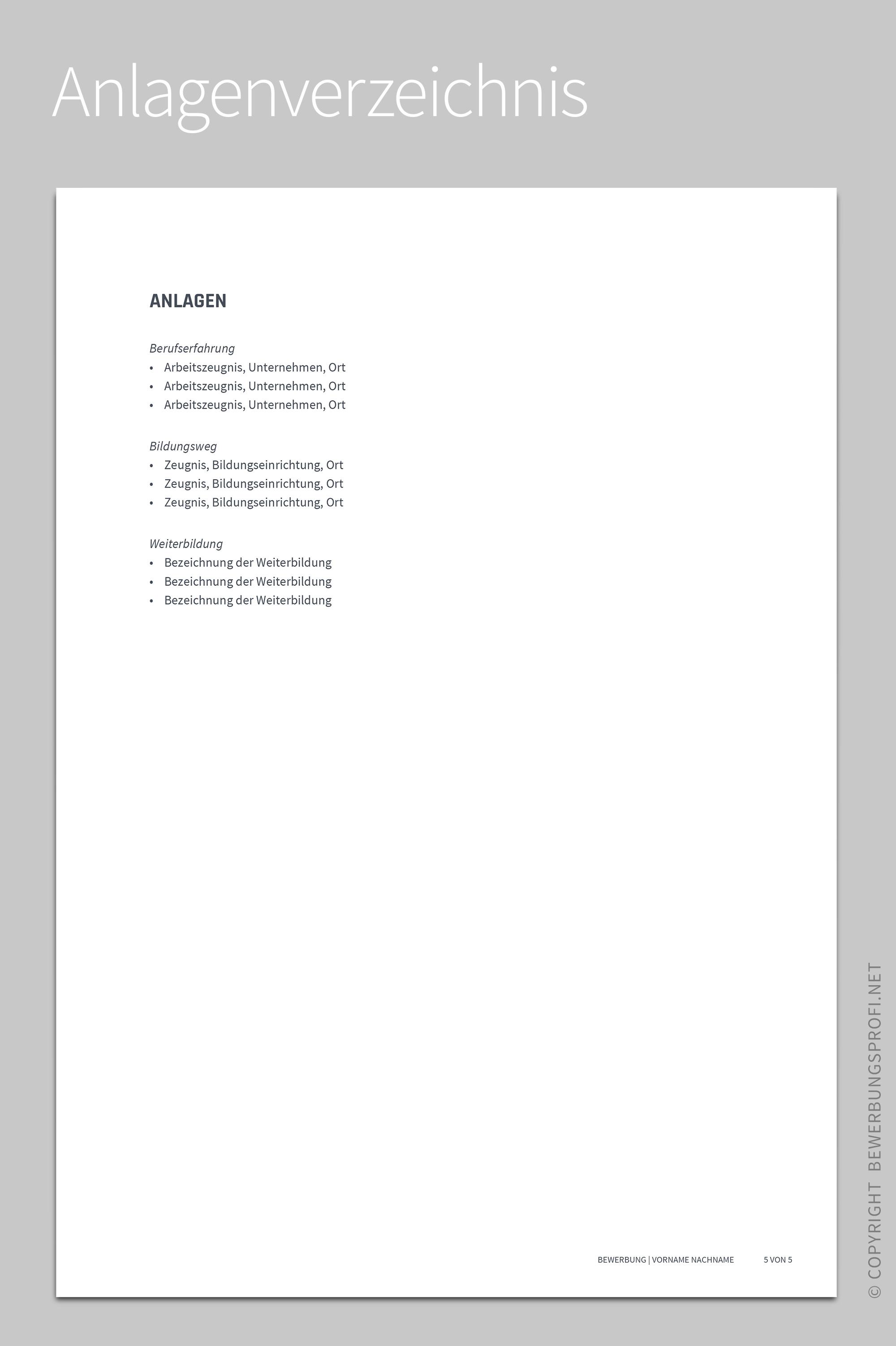 Anlagenverzeichnis Libero