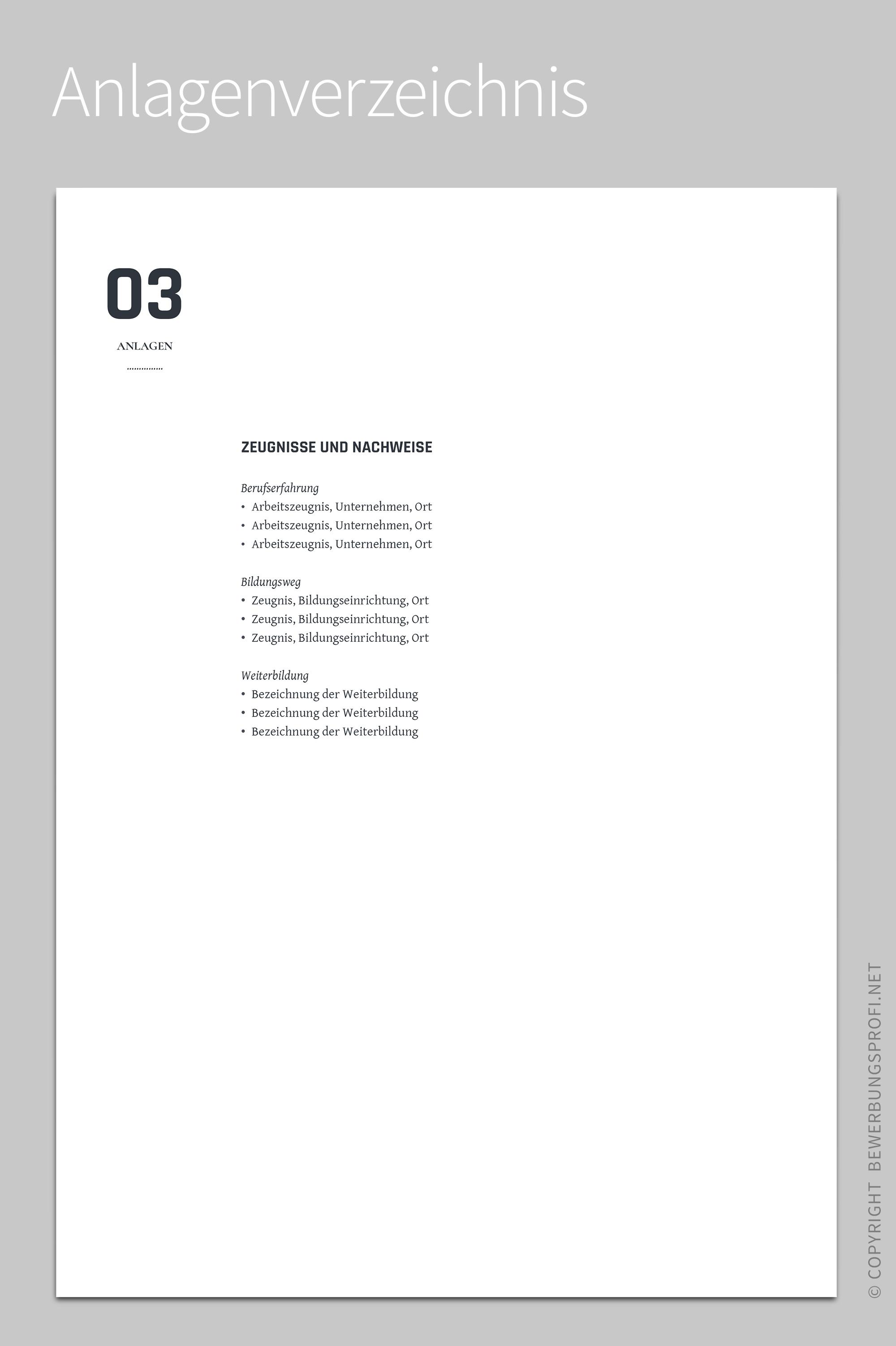 Anlagenverzeichnis Onorio