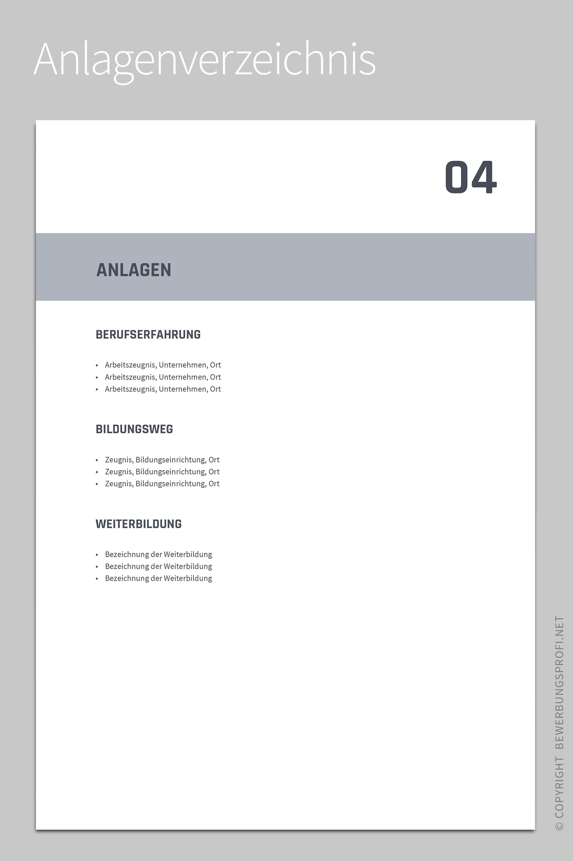 Anlagenverzeichnis Titanus