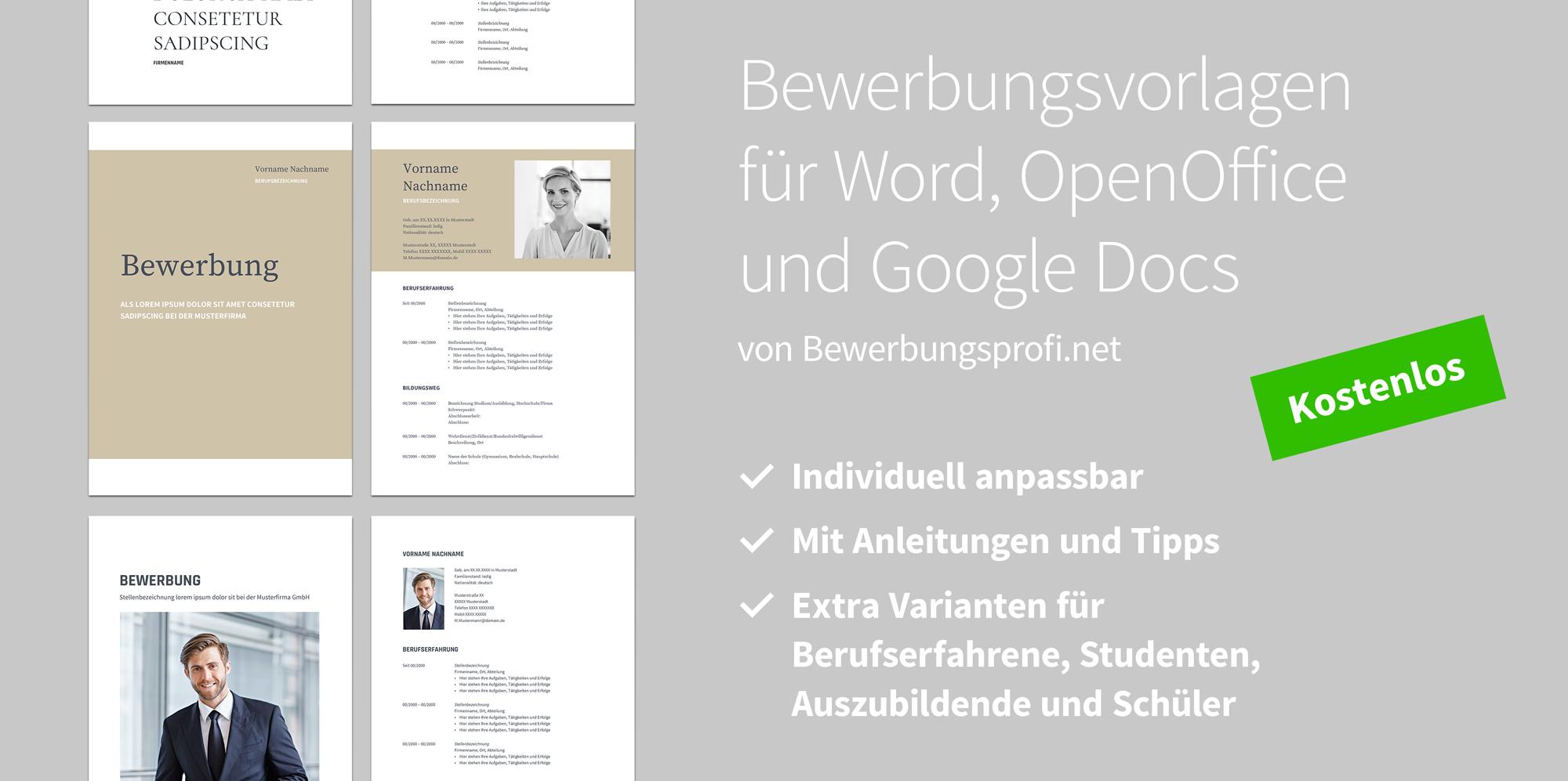 Bewerbung Vorlagen Word OpenOffice Google Docs